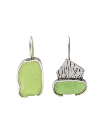Asymmetric Bottle Green Beach Glass Earrings - Silver
