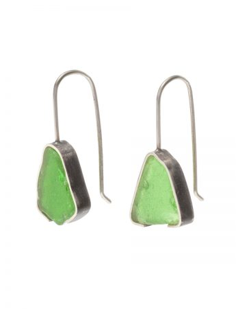 Bottle Green Beach Glass Earrings - Silver