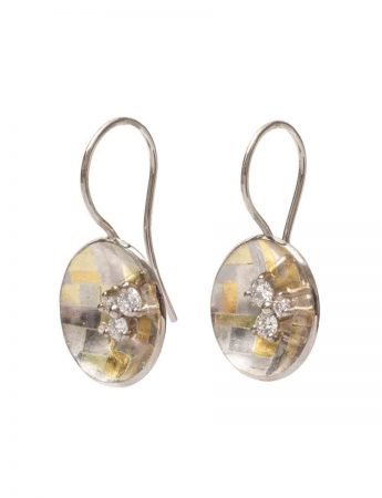 Celestial Terrain Rounded Hook Earrings - Gold with Diamonds