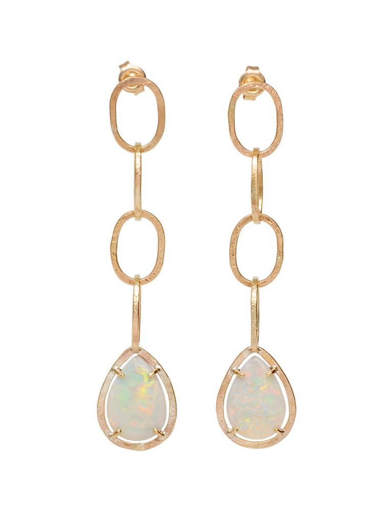 Chain Drop Mintabie Opal Earrings