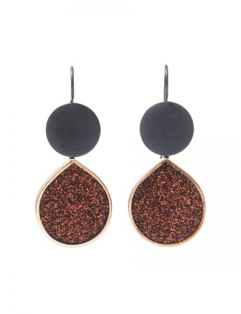 Glitter Teardrop Hook Earrings - Chestnut