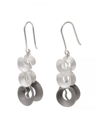 Cloud & Wind Hook Earrings - Silver & Monel
