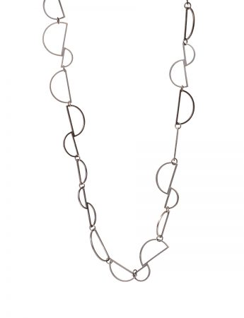 Connected D Chain Necklace - Silver