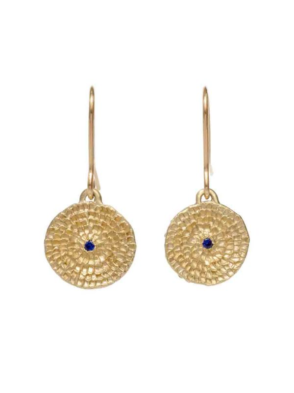 Continuum Earrings – Gold & Blue Sapphire