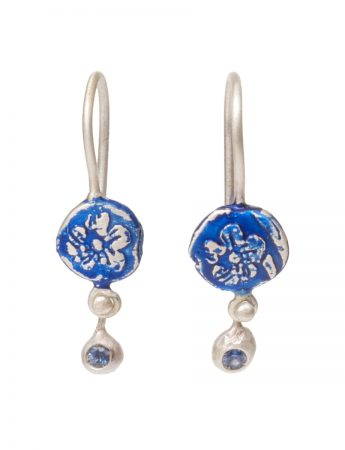 Daisy Drops Fragment Fixed Hook Earrings – Blue with Sapphires