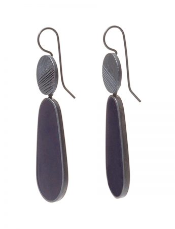 Dark Night Pattern Hook Teardrop Earrings - Navy Blue