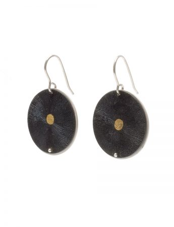 Dot Inlayed Disc Earrings - Black & Gold