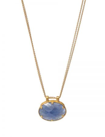Double Chain Blue Sapphire Facet Necklace