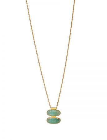 Double Emerald Facet Necklace