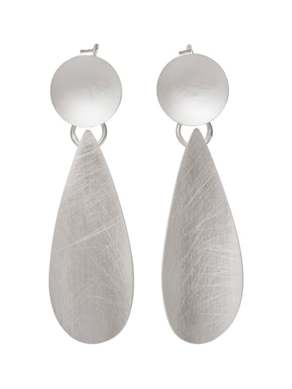 Double Link Earrings – Silver Circle and Droplet