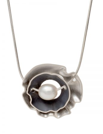Double Rippled Periwinkle Necklace - Silver & Pearl