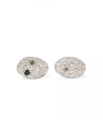 Droplet Stud Earrings - Silver & Sapphires