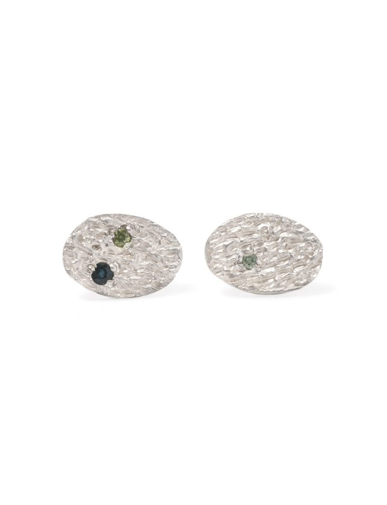 Droplet Stud Earrings – Silver & Sapphires