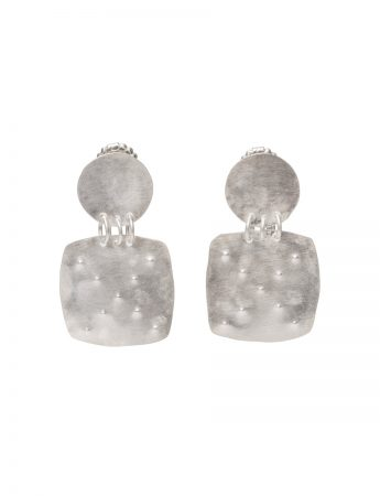 Embossed Disc Stud Square Drop Earrings - Silver