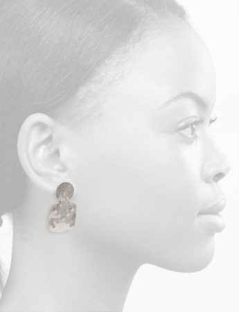 Embossed Disc Stud Square Drop Earrings – Silver
