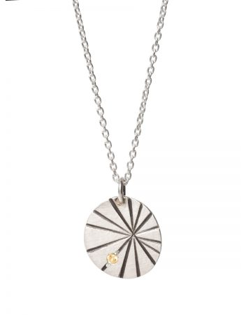 Silver Fan Shell Pendant Necklace - Yellow Sapphire