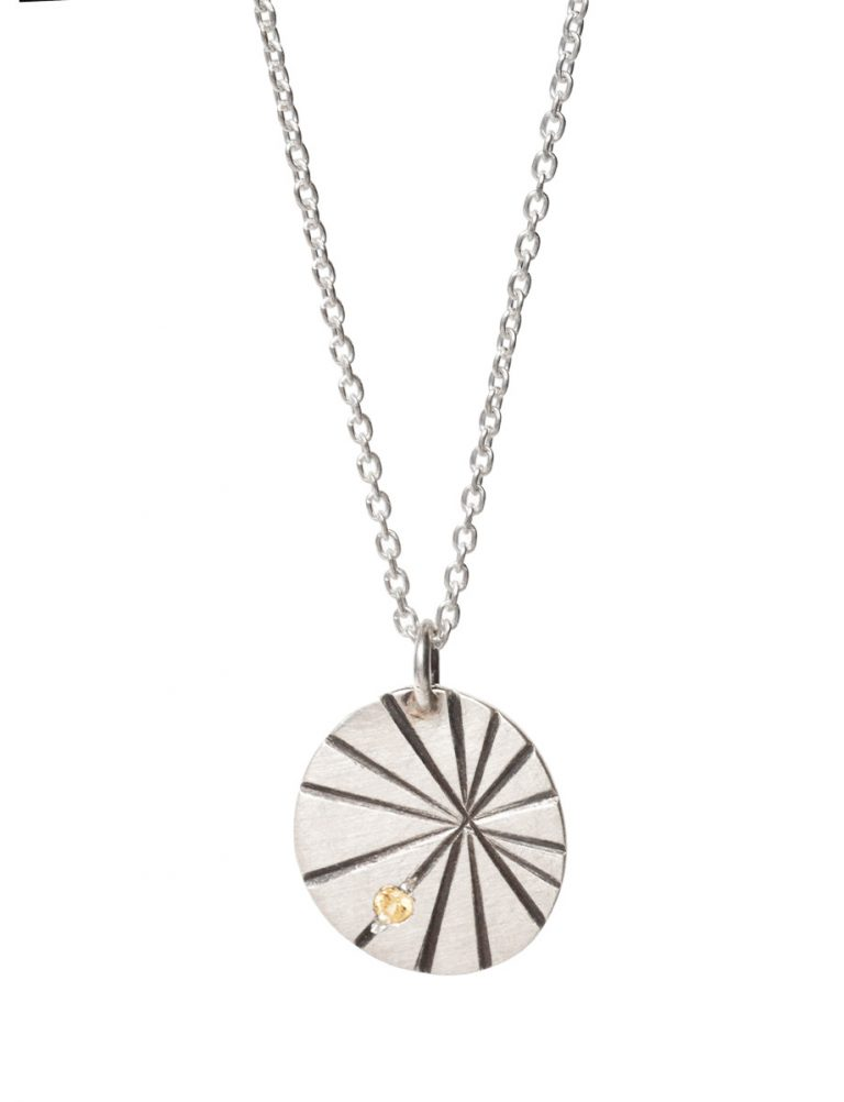 Silver Fan Shell Pendant Necklace – Yellow Sapphire