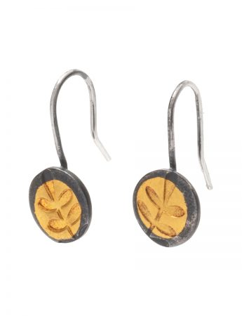 Fern Leaf Hook Earrings - Black & Gold