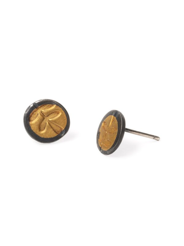 Fern Leaf Stud Earrings – Black & Gold