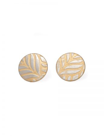 Fern Stud Earrings - Silver & Gold