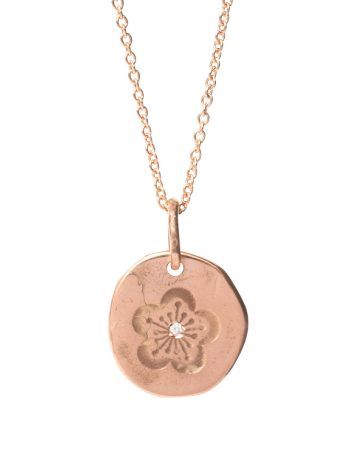 Flower Pendant Necklace - Rose Gold & Diamond