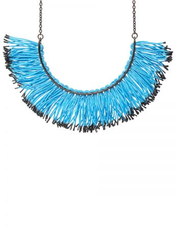 Fringed Half Hoop Necklace - Blue