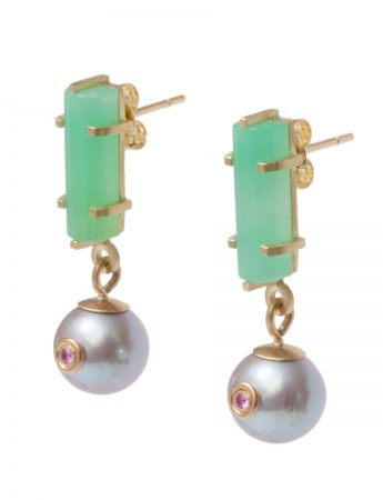 Glow Earrings - Chrysoprase, Pearl & Pink Sapphires