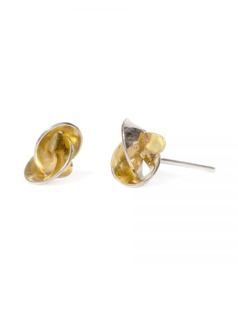 Golden Cloud Stud Earrings - Silver & Gold