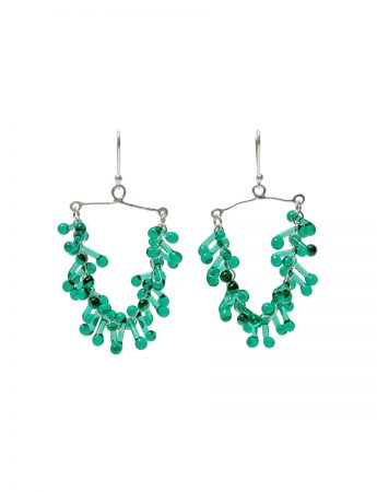 Glass Chandelier Earrings - Green