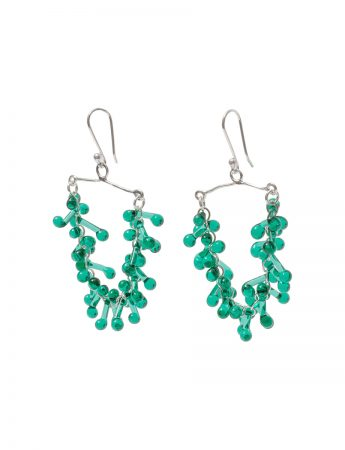 Green Glass Chandelier Earrings