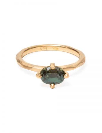 Green Oval Sapphire Ring - Yellow Gold