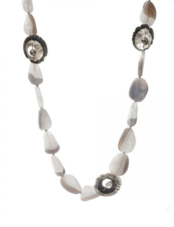 Grey Ocean Necklace – Agate, Quartz & Pearl