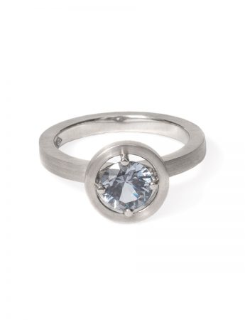 Grey Spinel Halo Ring - Platinum
