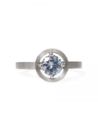 Grey Spinel Halo Ring – Platinum