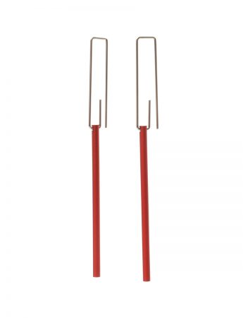 Long Hidden Line Earrings - Red