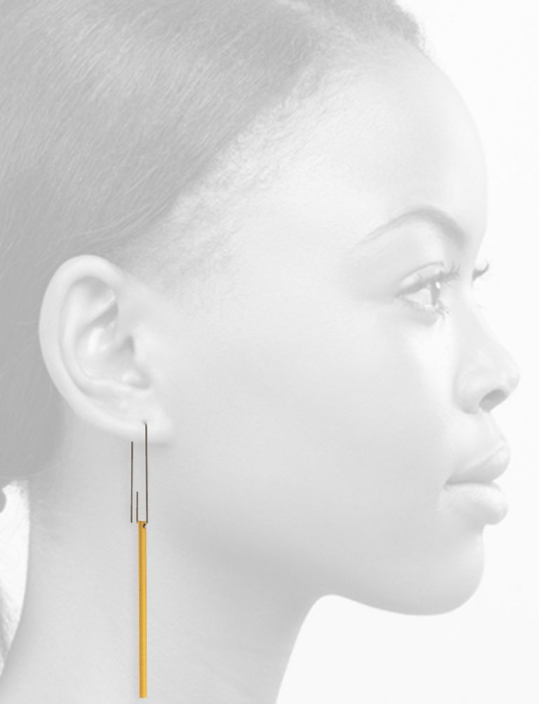 Long Hidden Line Earrings – Yellow