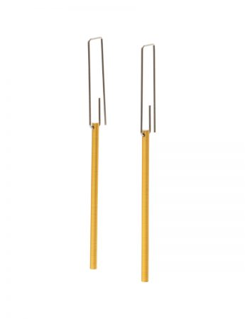 Long Hidden Line Earrings - Yellow