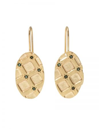 Honeycomb Hook Earrings - Gold & Tourmaline
