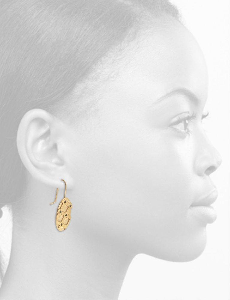 Honeycomb Hook Earrings – Gold & Tourmaline