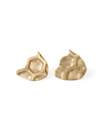 Gold Honeycomb Stud Earrings - Diamonds