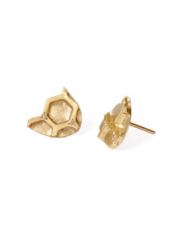 Gold Honeycomb Stud Earrings – Diamonds
