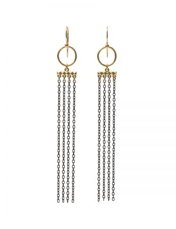Hoop Draped Chain Earrings - Black & Gold