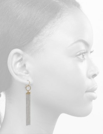 Hoop Draped Chain Earrings – Black & Gold