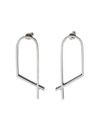 Intersected Arch Outline Earrings - Silver