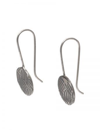 Japanese Print Hook Earrings - Black & Silver