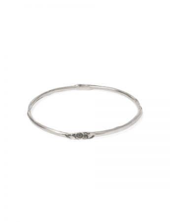 Japanese Small Flower Stacking Bangle - Silver