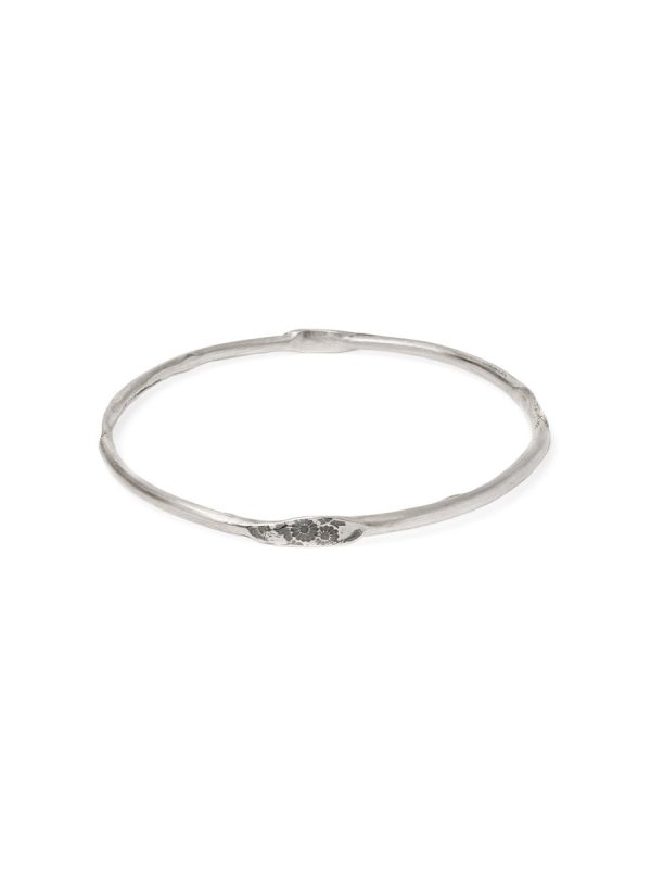 Japanese Small Flower Stacking Bangle – Silver