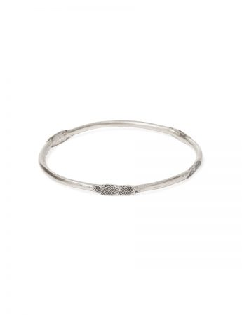 Japanese Wave Stacking Bangle - Silver