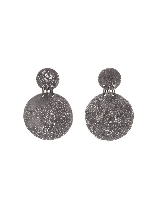 Large Disc Moonspace Earrings – Black