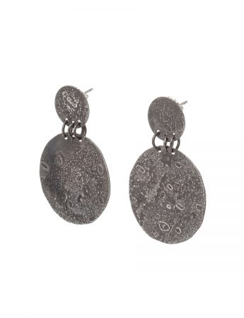 Large Disc Moonspace Earrings - Black